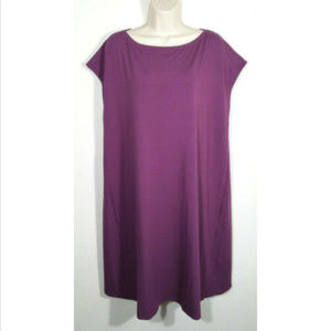 EILEEN FISHER A-line Dress Jersey Pockets 3156-LE1